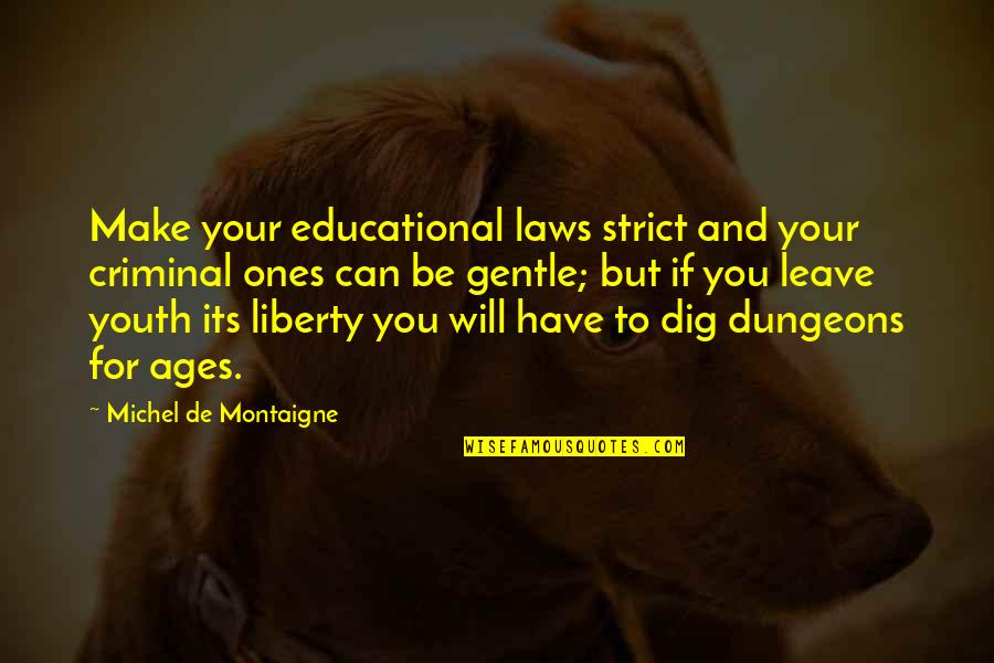 Galtung Peace Quotes By Michel De Montaigne: Make your educational laws strict and your criminal