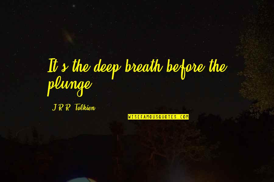 Gandalf Pippin Quotes By J.R.R. Tolkien: It's the deep breath before the plunge.