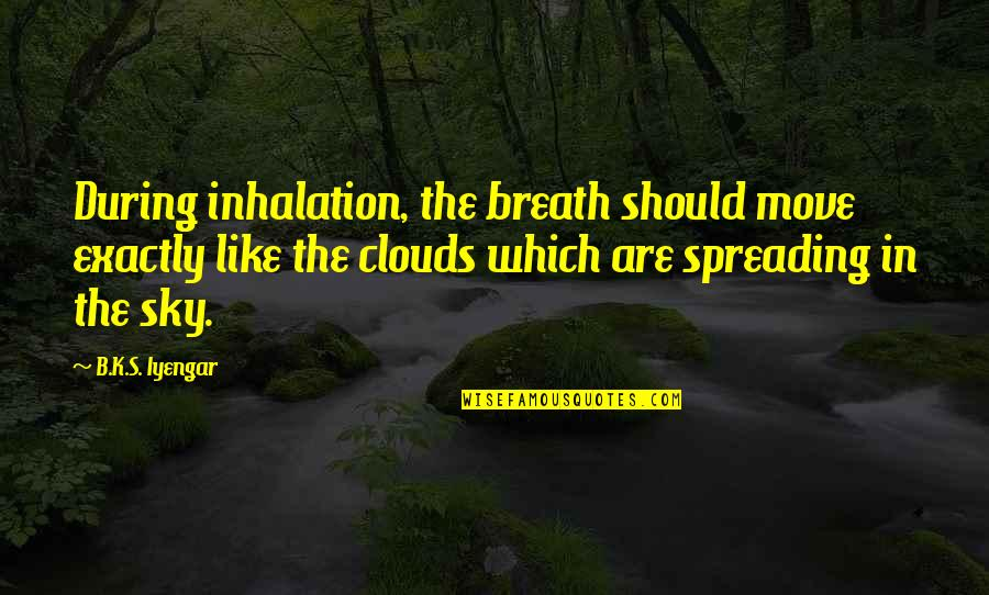 Gandang Lalaki Quotes By B.K.S. Iyengar: During inhalation, the breath should move exactly like
