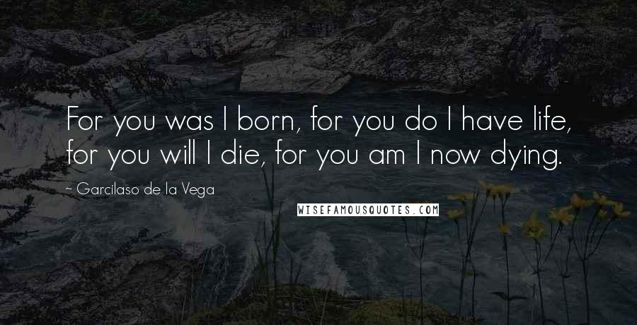 Garcilaso De La Vega quotes: For you was I born, for you do I have life, for you will I die, for you am I now dying.
