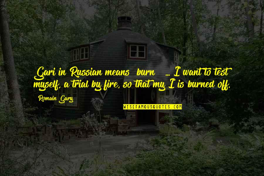 "Gari Quotes By Romain Gary: Gari in Russian means ""burn!"" ... I want"