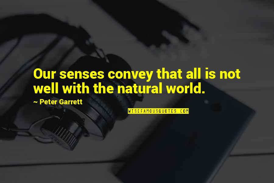 Garrett'd Quotes By Peter Garrett: Our senses convey that all is not well