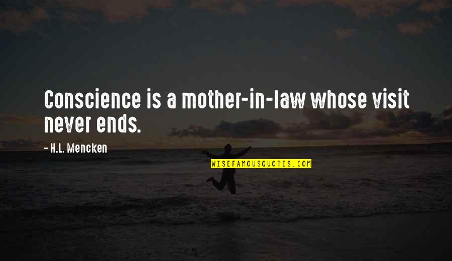 Gary Sheffield Quotes By H.L. Mencken: Conscience is a mother-in-law whose visit never ends.