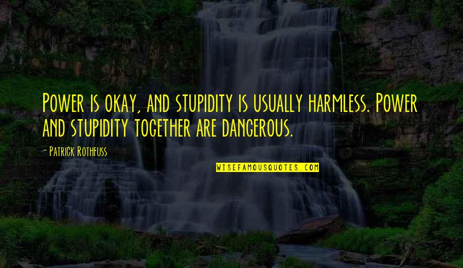 Gasmask Quotes By Patrick Rothfuss: Power is okay, and stupidity is usually harmless.