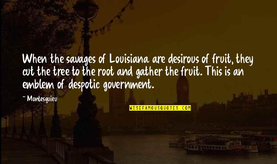 Gather'd Quotes By Montesquieu: When the savages of Louisiana are desirous of