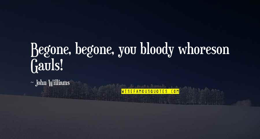 Gauls Quotes By John Williams: Begone, begone, you bloody whoreson Gauls!