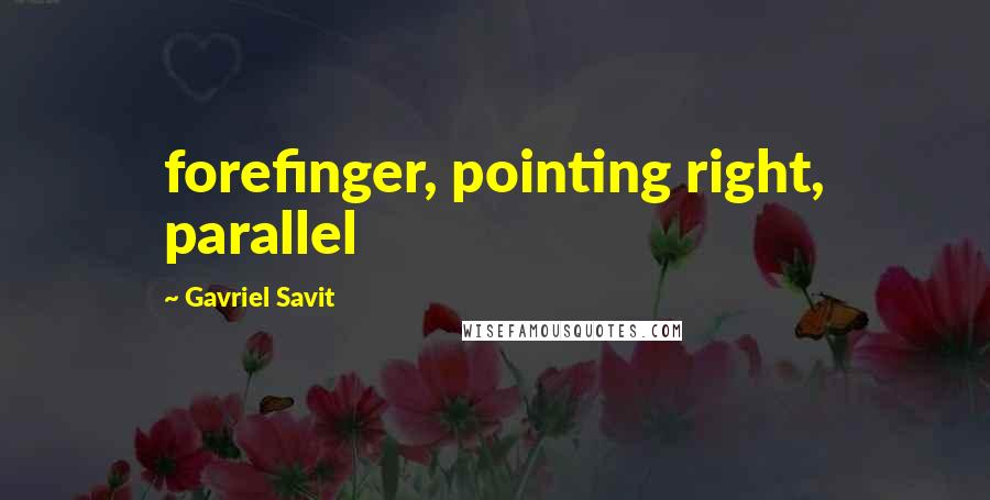 Gavriel Savit quotes: forefinger, pointing right, parallel
