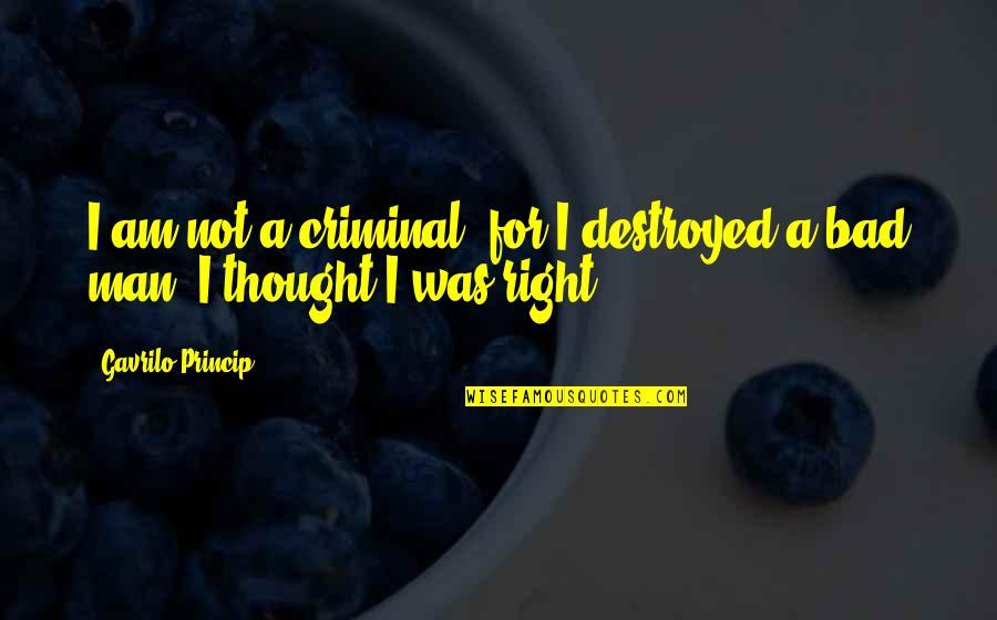 Gavrilo Princip Quotes By Gavrilo Princip: I am not a criminal, for I destroyed