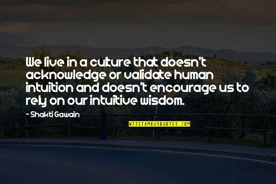Gawain's Quotes By Shakti Gawain: We live in a culture that doesn't acknowledge