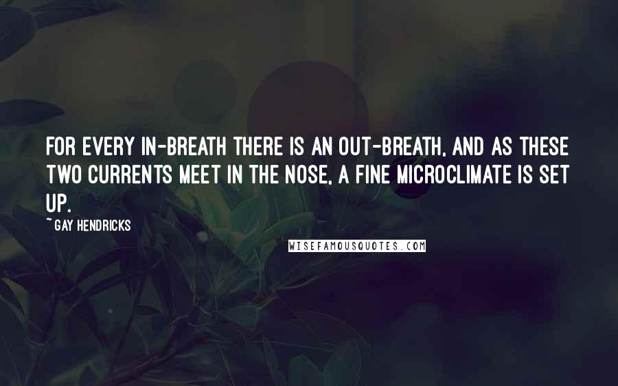 Gay Hendricks quotes: For every in-breath there is an out-breath, and as these two currents meet in the nose, a fine microclimate is set up.
