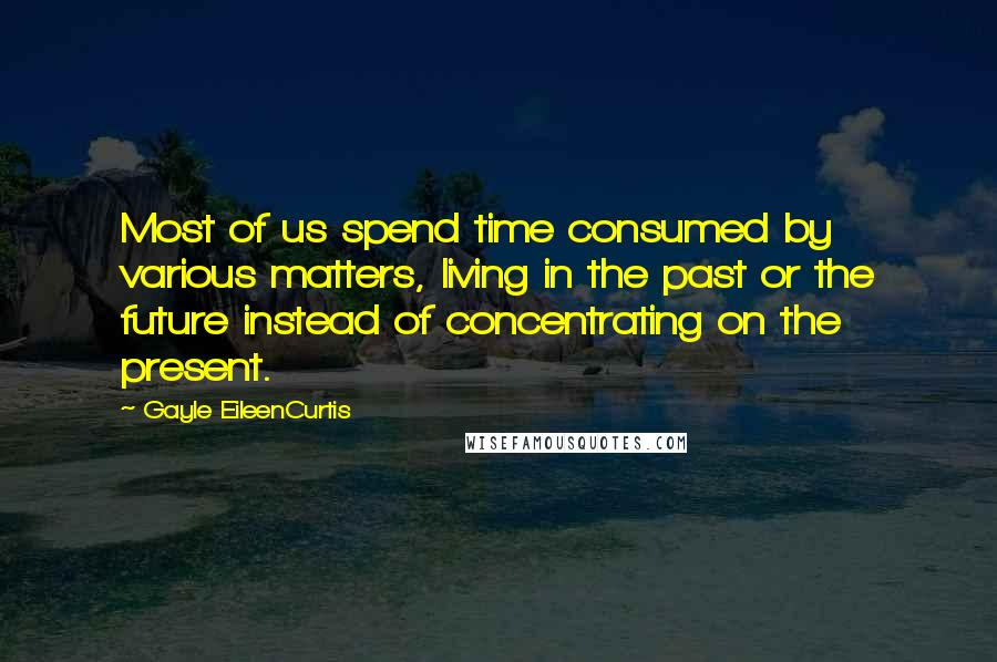 Gayle EileenCurtis quotes: Most of us spend time consumed by various matters, living in the past or the future instead of concentrating on the present.