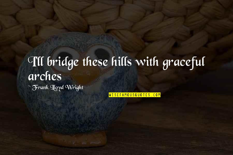 Gazetta Quotes By Frank Lloyd Wright: I'll bridge these hills with graceful arches