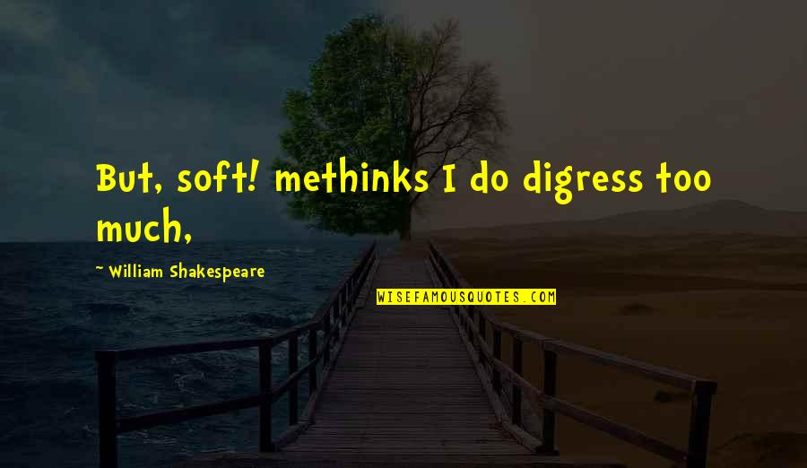 Gegenschein Quotes By William Shakespeare: But, soft! methinks I do digress too much,