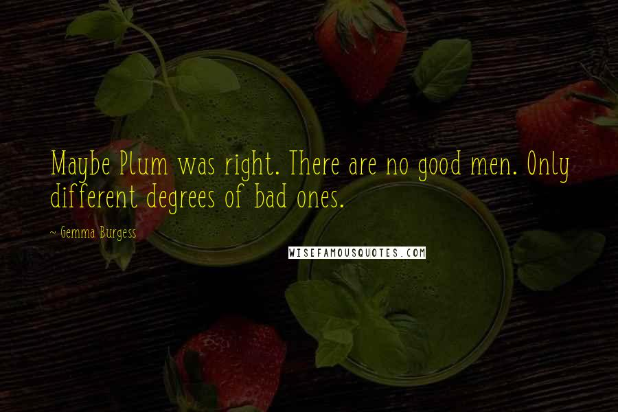 Gemma Burgess quotes: Maybe Plum was right. There are no good men. Only different degrees of bad ones.