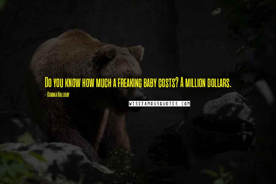 Gemma Halliday quotes: Do you know how much a freaking baby costs? A million dollars.