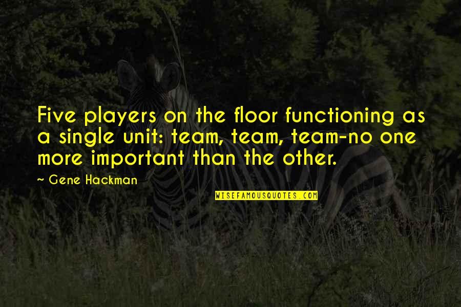 Gene Hackman Quotes By Gene Hackman: Five players on the floor functioning as a