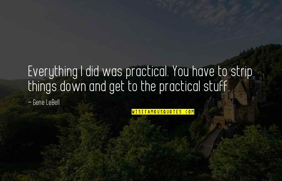 Gene Lebell Quotes By Gene LeBell: Everything I did was practical. You have to