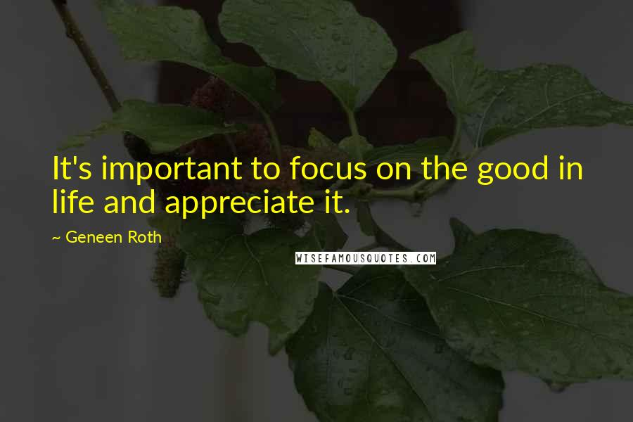 Geneen Roth quotes: It's important to focus on the good in life and appreciate it.