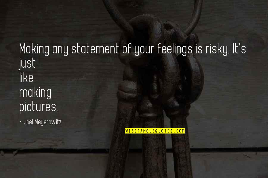 Gentleman Rules Quotes By Joel Meyerowitz: Making any statement of your feelings is risky.