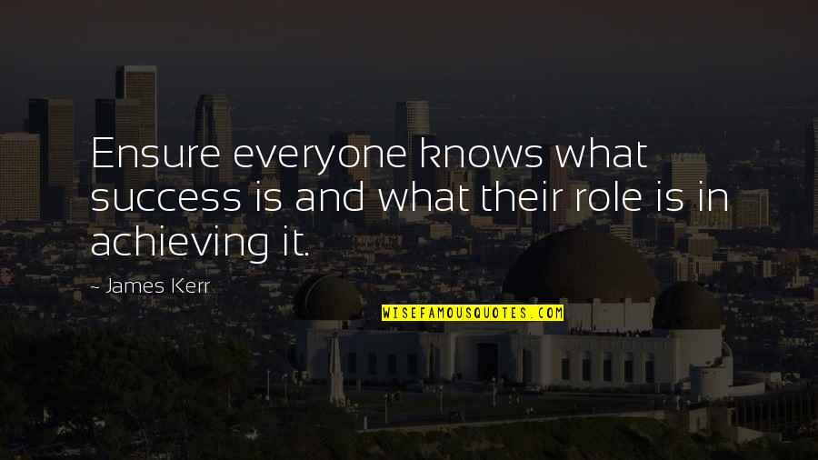 Gents Quotes By James Kerr: Ensure everyone knows what success is and what