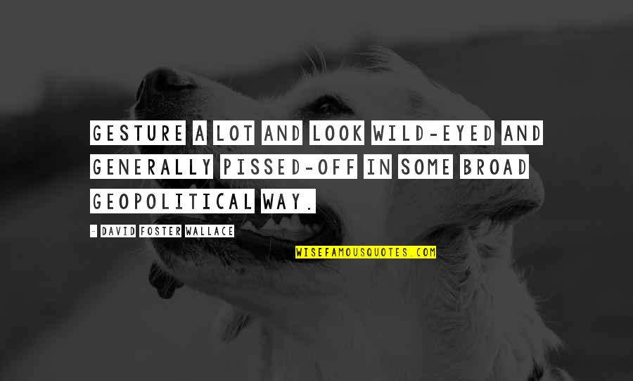 Geopolitical Quotes By David Foster Wallace: Gesture a lot and look wild-eyed and generally