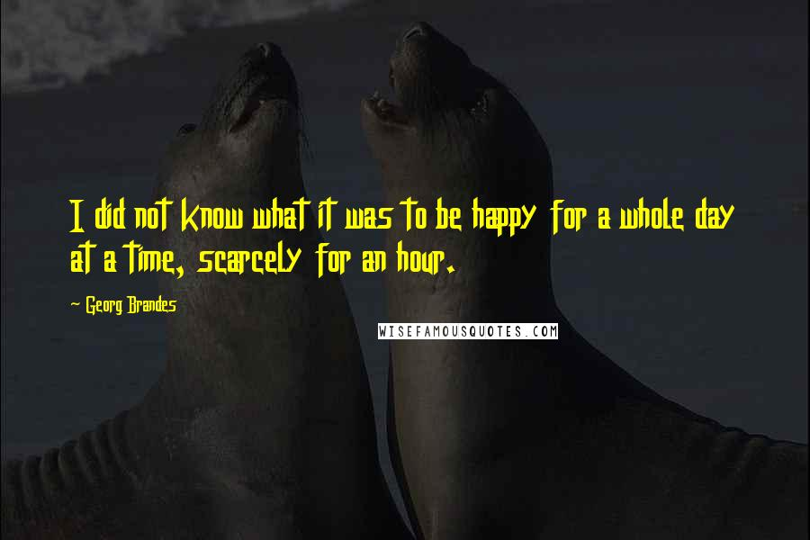 Georg Brandes quotes: I did not know what it was to be happy for a whole day at a time, scarcely for an hour.