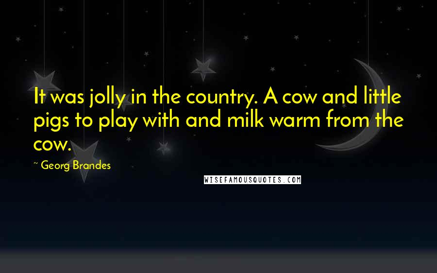 Georg Brandes quotes: It was jolly in the country. A cow and little pigs to play with and milk warm from the cow.