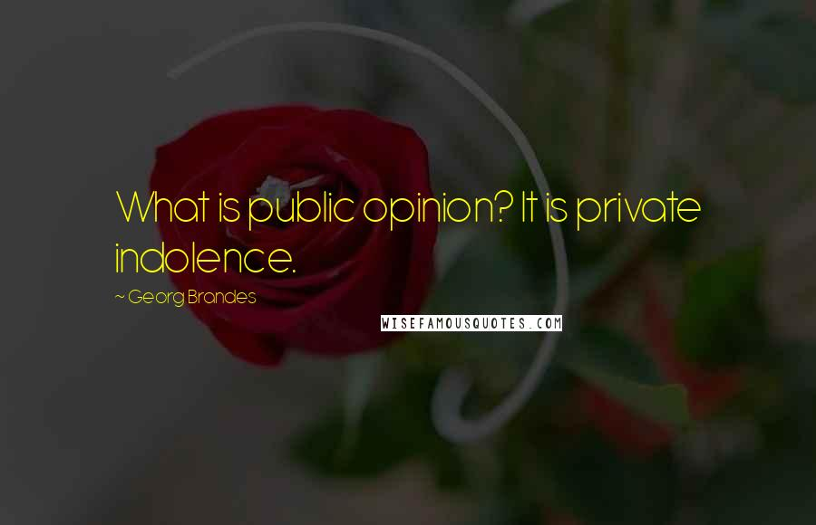 Georg Brandes quotes: What is public opinion? It is private indolence.