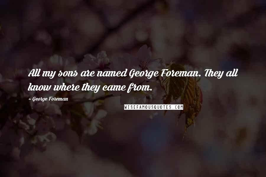 George Foreman quotes: All my sons are named George Foreman. They all know where they came from.