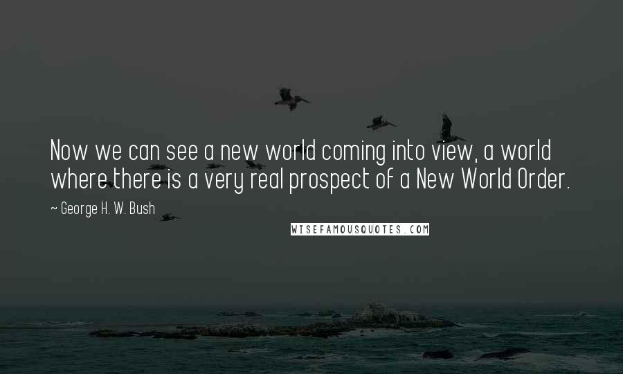 George H. W. Bush quotes: Now we can see a new world coming into view, a world where there is a very real prospect of a New World Order.