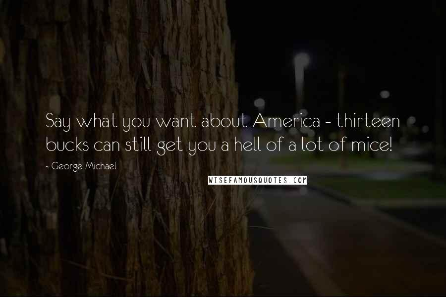 George Michael quotes: Say what you want about America - thirteen bucks can still get you a hell of a lot of mice!
