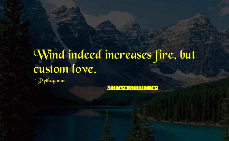 George Reid Quotes By Pythagoras: Wind indeed increases fire, but custom love.