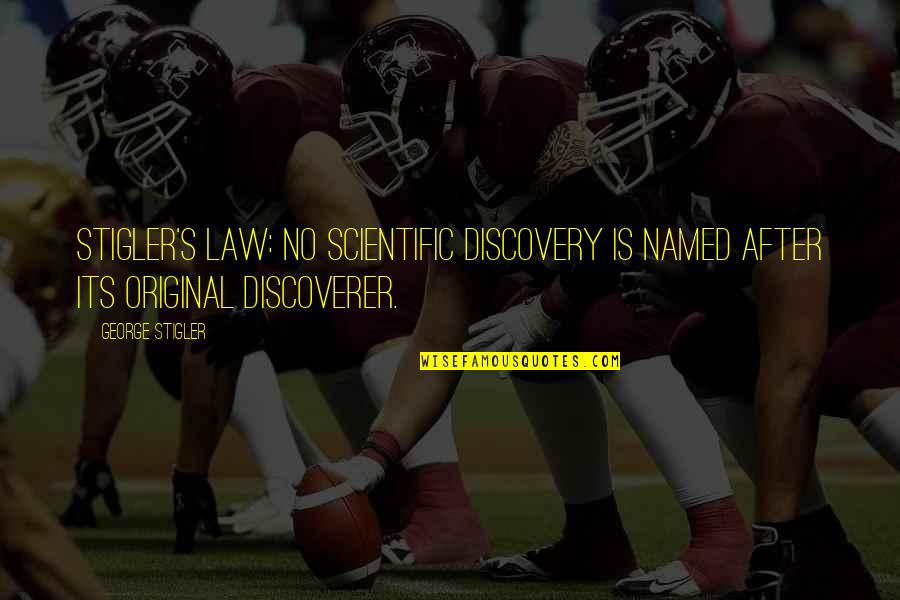 George Stigler Quotes By George Stigler: Stigler's Law: No scientific discovery is named after