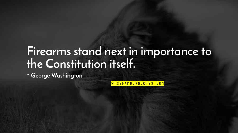 George Washington Quotes By George Washington: Firearms stand next in importance to the Constitution