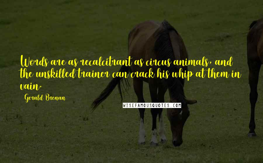 Gerald Brenan quotes: Words are as recalcitrant as circus animals, and the unskilled trainer can crack his whip at them in vain.