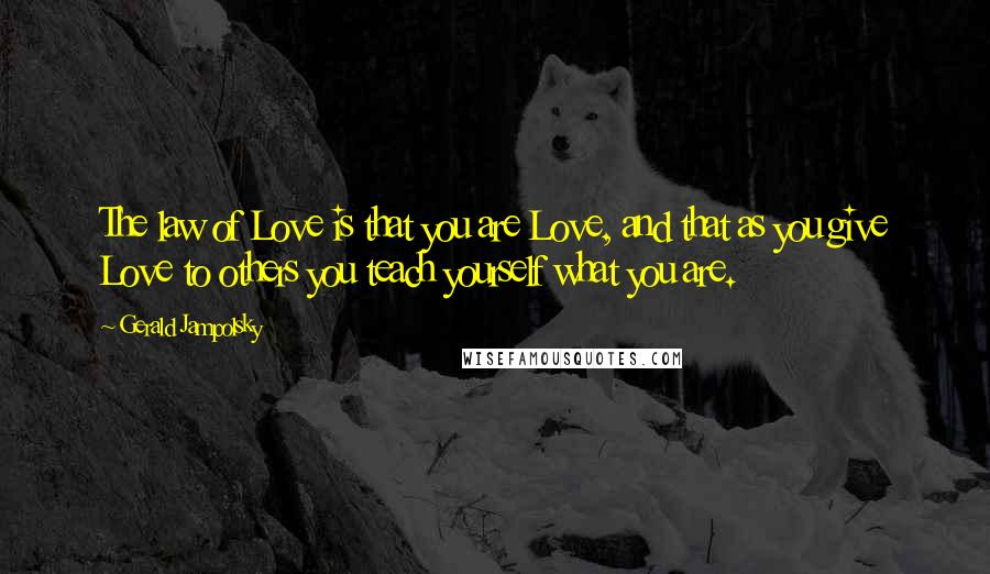 Gerald Jampolsky quotes: The law of Love is that you are Love, and that as you give Love to others you teach yourself what you are.
