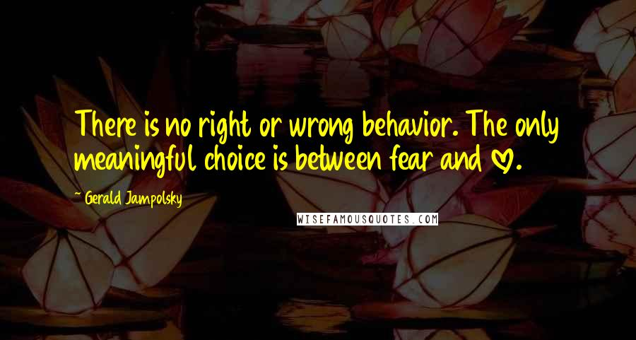 Gerald Jampolsky quotes: There is no right or wrong behavior. The only meaningful choice is between fear and love.
