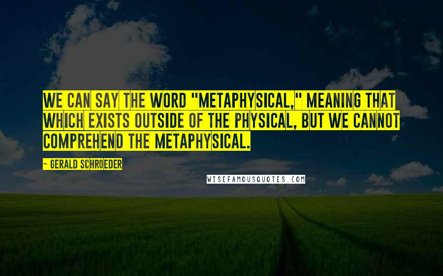 """Gerald Schroeder quotes: We can say the word """"metaphysical,"""" meaning that which exists outside of the physical, but we cannot comprehend the metaphysical."""