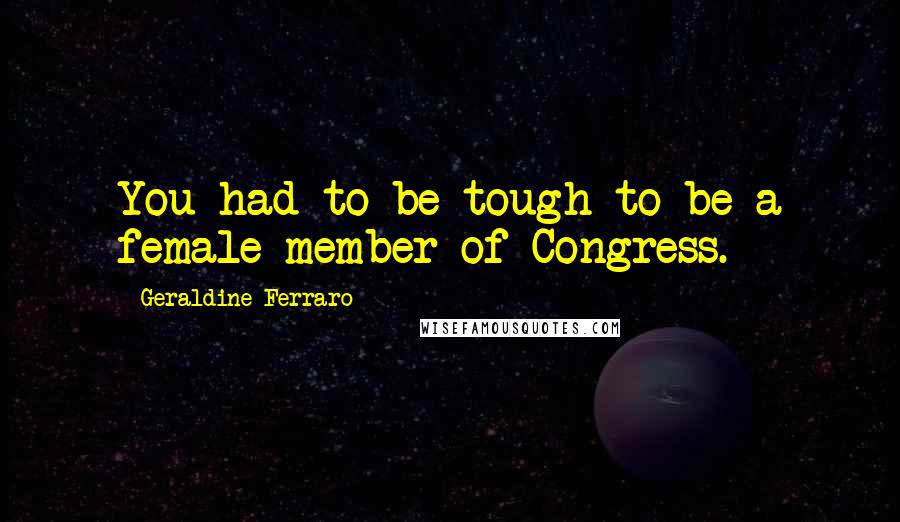 Geraldine Ferraro quotes: You had to be tough to be a female member of Congress.