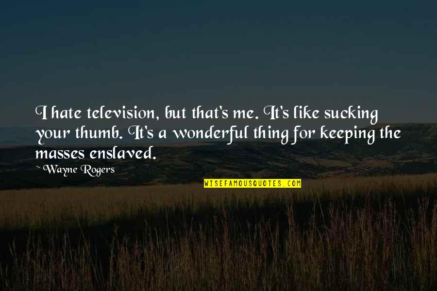 Geric Quotes By Wayne Rogers: I hate television, but that's me. It's like