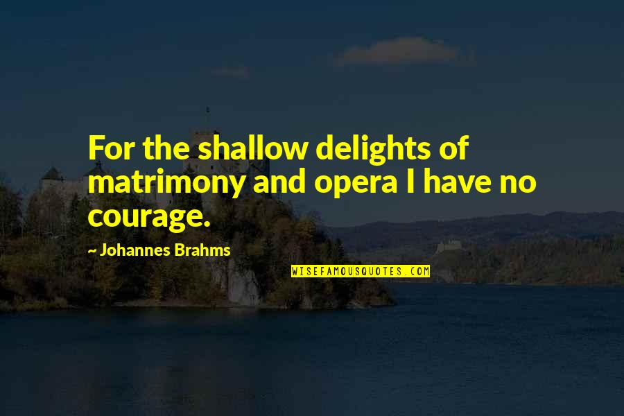 German Shepherd Puppies Quotes By Johannes Brahms: For the shallow delights of matrimony and opera