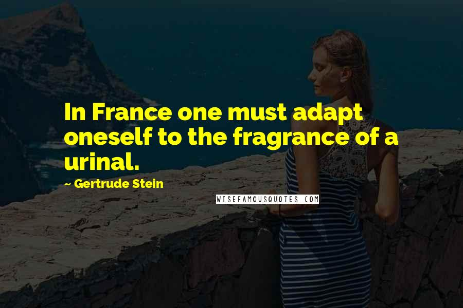 Gertrude Stein quotes: In France one must adapt oneself to the fragrance of a urinal.