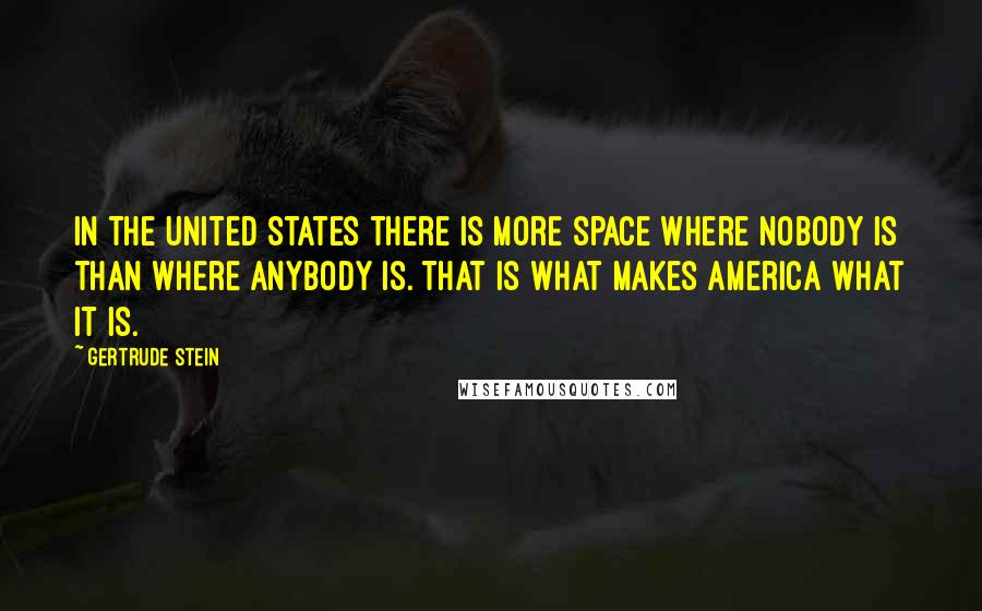 Gertrude Stein quotes: In the United States there is more space where nobody is than where anybody is. That is what makes America what it is.