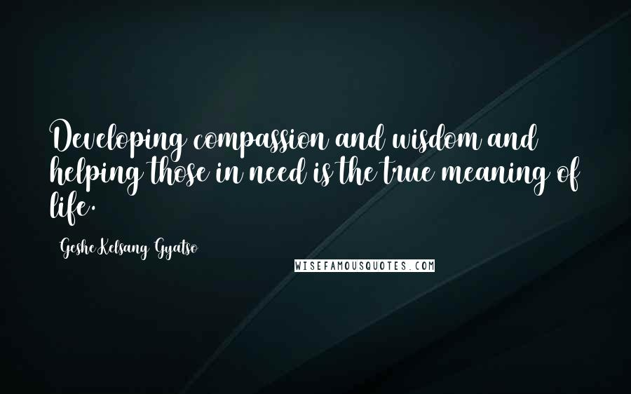 Geshe Kelsang Gyatso quotes: Developing compassion and wisdom and helping those in need is the true meaning of life.