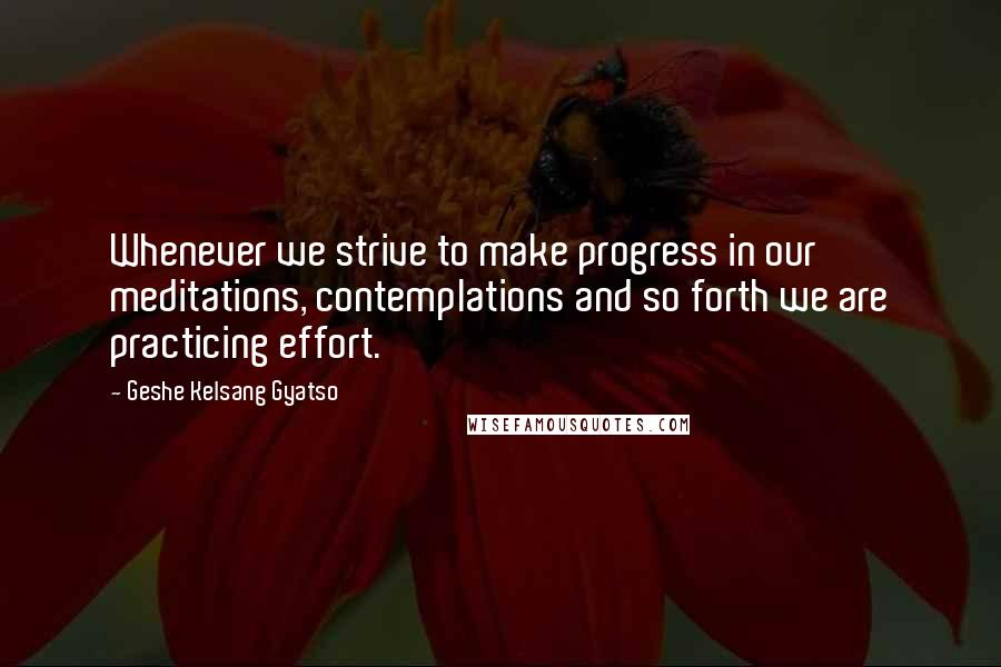 Geshe Kelsang Gyatso quotes: Whenever we strive to make progress in our meditations, contemplations and so forth we are practicing effort.