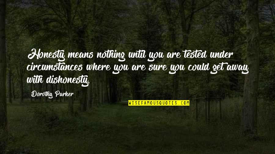 Get Tested Quotes By Dorothy Parker: Honesty means nothing until you are tested under