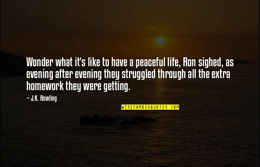Getting On With Life Quotes By J.K. Rowling: Wonder what it's like to have a peaceful