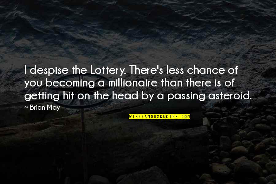 Getting Out Of Your Head Quotes By Brian May: I despise the Lottery. There's less chance of