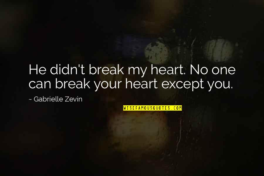 Getting Punched In The Face Quotes By Gabrielle Zevin: He didn't break my heart. No one can