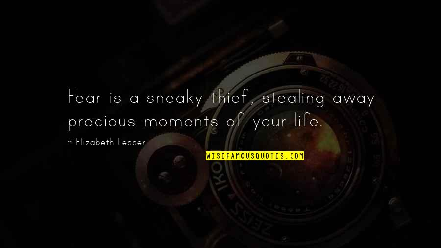Getting Under People's Skin Quotes By Elizabeth Lesser: Fear is a sneaky thief, stealing away precious